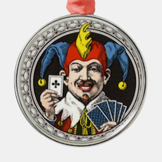 The jolly joker playing card graphic metal ornament