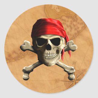The Jolly Roger Pirate Map Classic Round Sticker