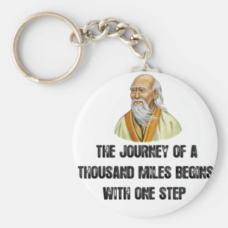 the journey of a thousand miles begins with a sing key ring