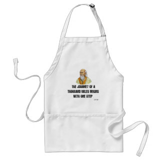 the journey of a thousand miles begins with a sing standard apron