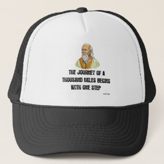 the journey of a thousand miles begins with a sing trucker hat