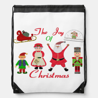The Joy Of Christmas Collage Drawstring Bag