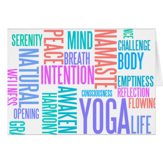 The Joy of Yoga Elegant Pastel Colored Word Cloud Greeting Card