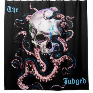 The Judged Octopus Skull Shower Curtain