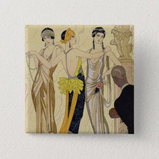 The Judgement of Paris, 1920-30 (pochoir print) 15 Cm Square Badge