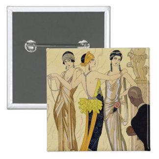 The Judgement of Paris 1920-30 pochoir print Button