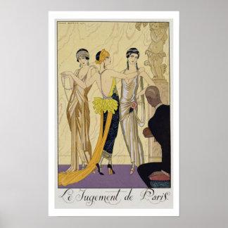 The Judgement of Paris, 1920-30 (pochoir print)