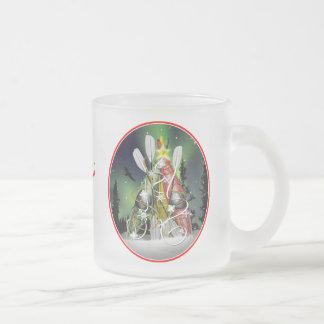 The Kayak Christmas Tree Aurora Borealis Frosted Glass Coffee Mug