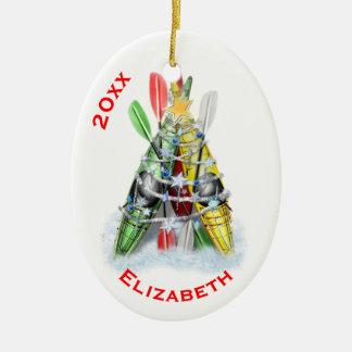 The Kayak Christmas Tree Ceramic Ornament