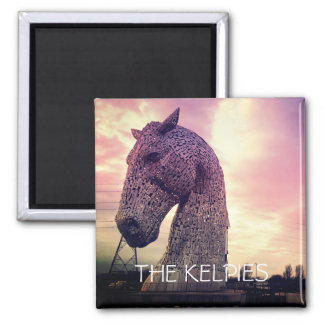 The Kelpies magnet, high horse-head sculptures Square Magnet