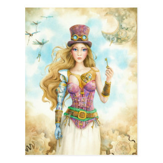'The Key', Steampunk girl. Postcard