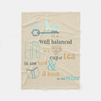 The Key to Life is Tea and Books Blanket