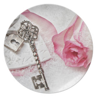 The Key to my Heart Rose and Lock Valentines Day Plate