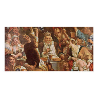 The King Drinks By Jordaens Jacob (Best Quality) Picture Card