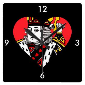 The King of Hearts Square Wallclocks