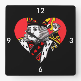 The King of Hearts Square Wallclocks