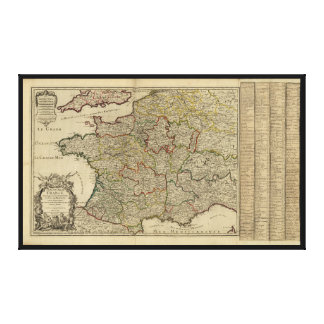 The Kingdom of France Map (1724) Stretched Canvas Print