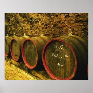 The Kiralyudvar winery: Barrels with Tokaj wine Poster