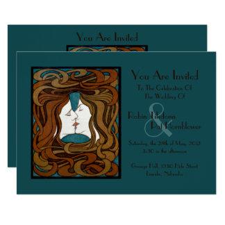 """""""The Kiss"""" Art Nouveau Vintage Wedding Invite #2"""