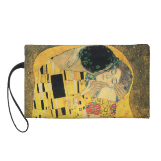 The Kiss by Gustav Klimt Wristlet Clutches