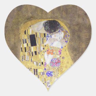 The Kiss by Gustav Klimt Heart Sticker