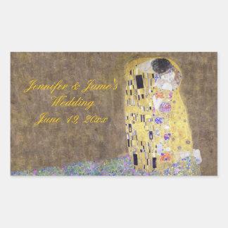 """The Kiss"" by Gustav Klimt Personalized Wedding Rectangular Sticker"