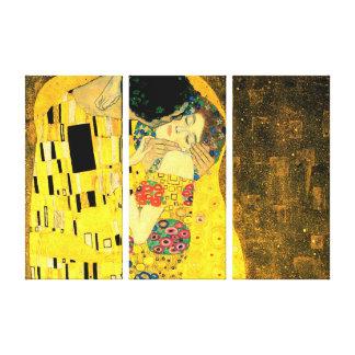 The Kiss by Gustav Klimt Triple Panel Gallery Wrap Canvas