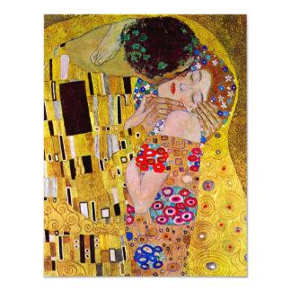 The Kiss by Gustav Klimt, Vintage Art Nouveau 11 Cm X 14 Cm Invitation Card