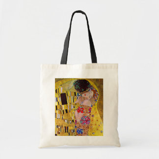 The Kiss by Gustav Klimt, Vintage Art Nouveau Budget Tote Bag