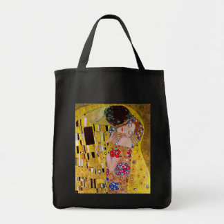 The Kiss by Gustav Klimt, Vintage Art Nouveau Grocery Tote Bag