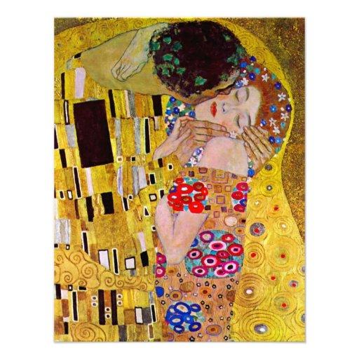 The Kiss by Gustav Klimt, Vintage Art Nouveau Custom Invitations