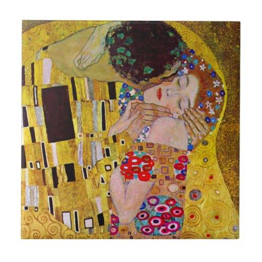The Kiss by Gustav Klimt, Vintage Art Nouveau Ceramic Tile