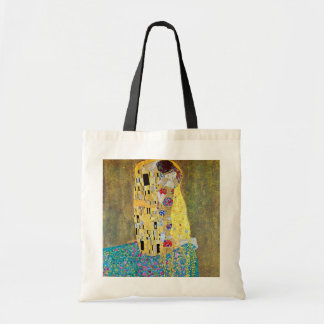 The Kiss by Gustav Klimt, Vintage Art Nouveau Budget Tote Bag