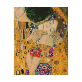 The Kiss by Gustav Klimt Wood Print