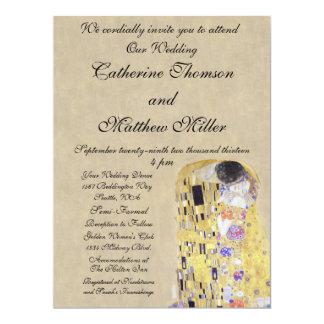 The Kiss by Klimt Creamy Sand Wedding Invitation