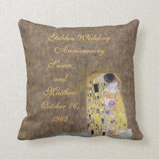 The Kiss by Klimt Golden Wedding Anniversary Custo Throw Pillow
