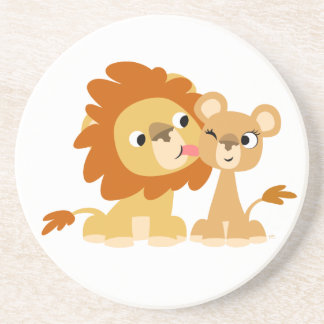 The Kiss: Cute Cartoon Lion Couple Coaster