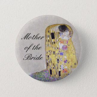"""""""The Kiss"""" Klimt Art Nouveau Wedding Theme White 6 Cm Round Badge"""