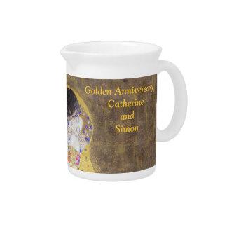 The Kiss Klimt Golden Wedding Anniversary Custom P Pitcher