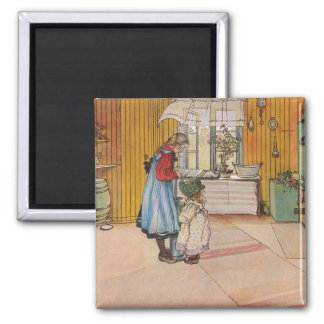 The Kitchen by Carl Larsson Scandinavian Square Magnet