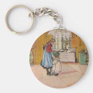 The Kitchen by Carl Larsson Swedish Artist Basic Round Button Key Ring