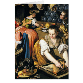 The Kitchen in detail by Vincenzo Campi Greeting Card