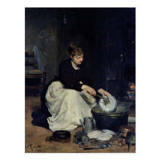 The Kitchen Maid Washing-Up Postcard