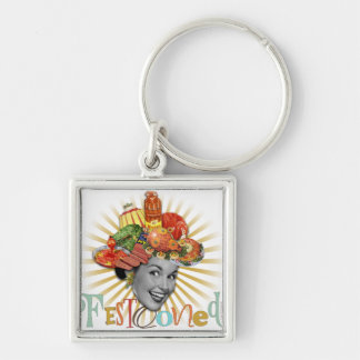 The Kitsch Bitsch © : Famously Festooned! Silver-Colored Square Key Ring