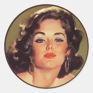 The Kitsch Bitsch : Pin-Up Portraits Round Sticker