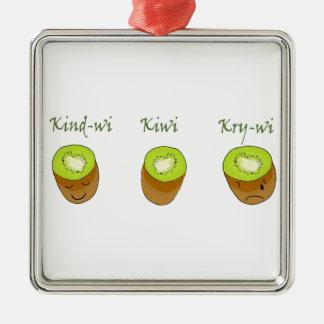 The kiwi trio metal ornament