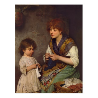The Knitting Lesson by Eugene de Blaas Postcard