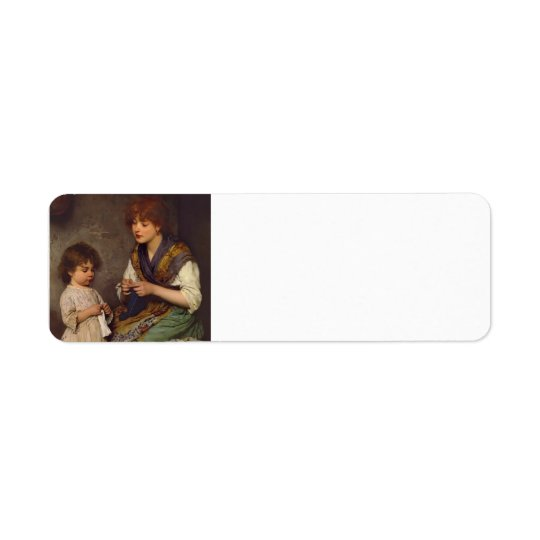 The Knitting Lesson by Eugene de Blaas Return Address Label