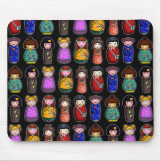 The Kokeshi Girls, patterned mousepad