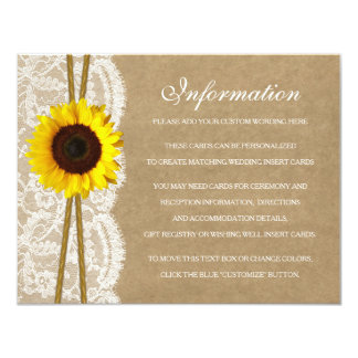 The Kraft, Lace & Sunflower Collection Detail Card 11 Cm X 14 Cm Invitation Card